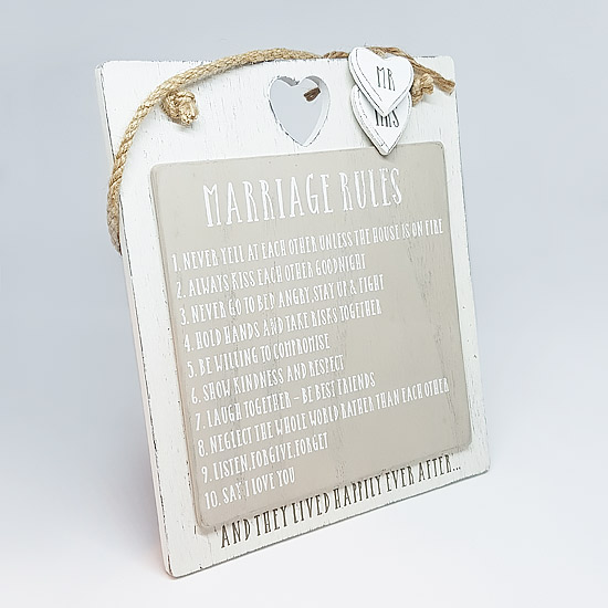 Marriage Rules Hanging Sign